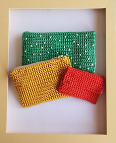 Handmade, crocheted purses. 3 different designs and sizes, impeccable handiwork and quality materials