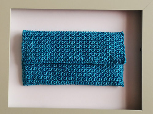 soft crocheted long blue purse