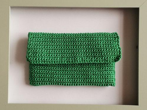soft crocheted long green purse