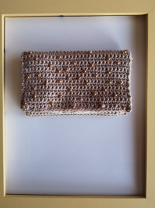 teak crocheted soft purse with gold-coloured beads