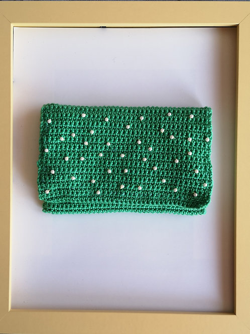 green crocheted soft purse with white beads