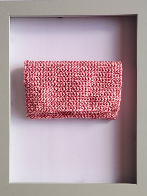 soft crocheted pastel pink purse