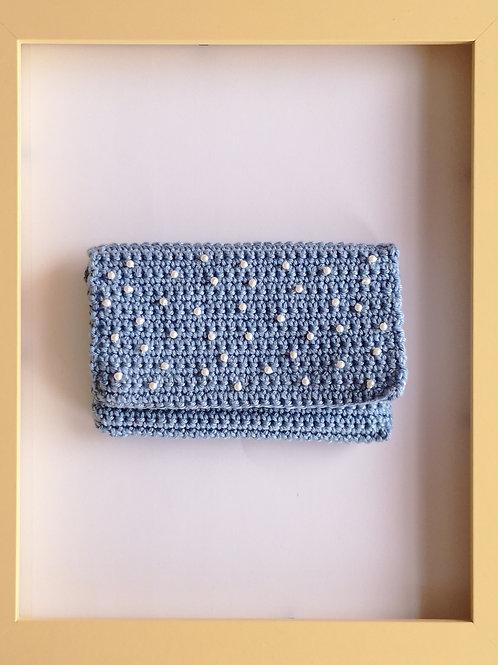 light blue soft crocheted purse
