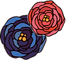red and blue flower illustration accent