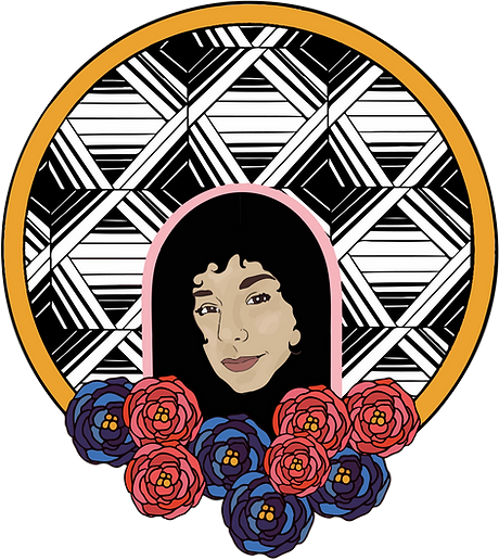 illustration with lauren's face, blue and red flowers, and a patterned background