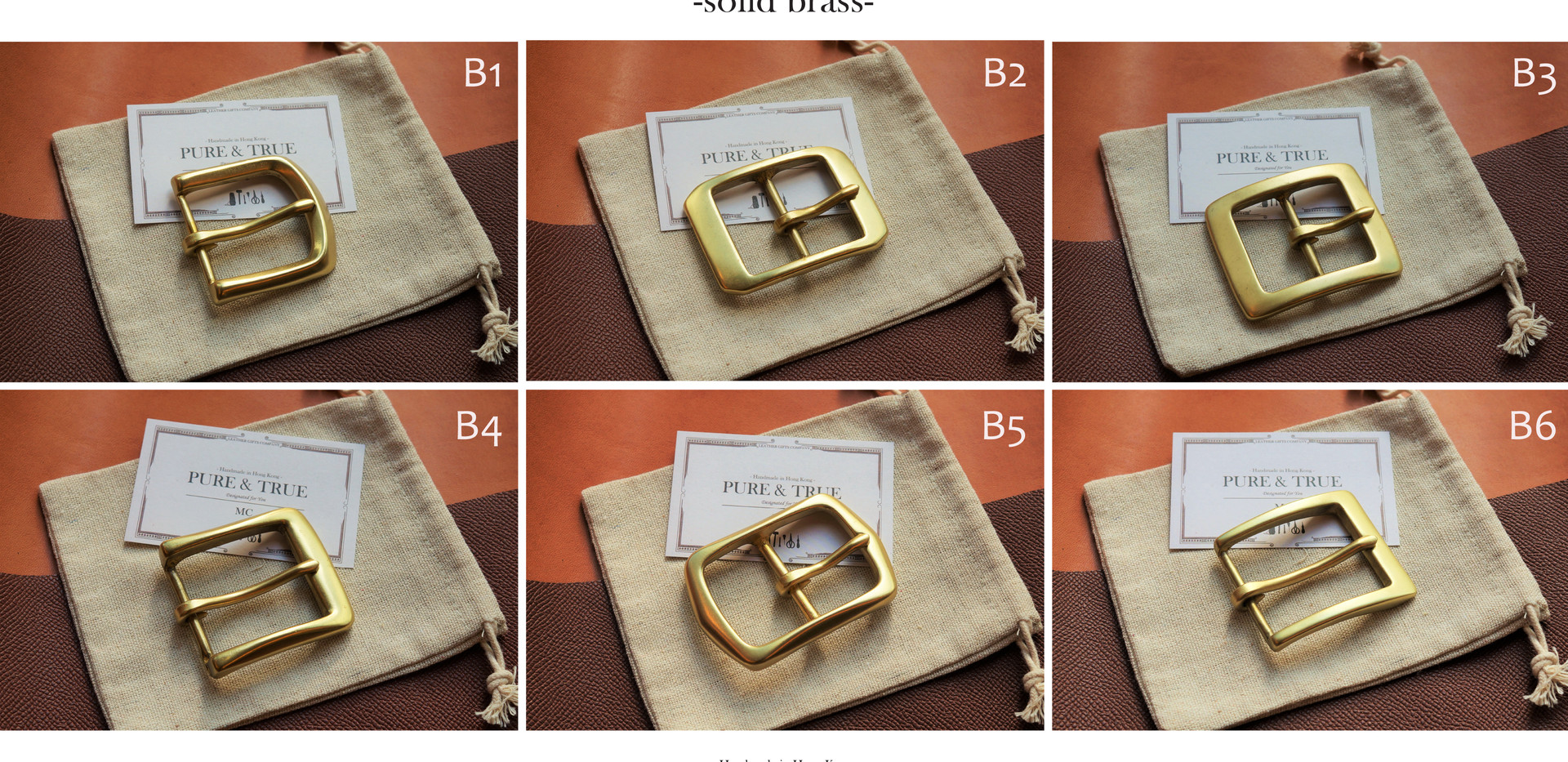 Gold brass buckle choices