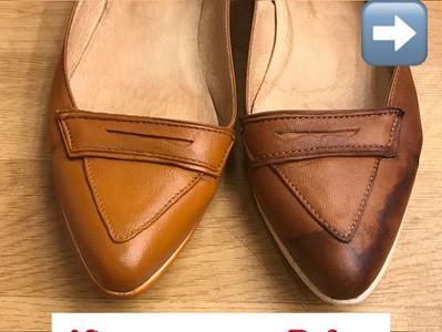 【為平底皮鞋清走水印?】