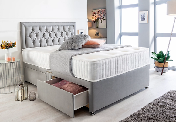 Premium Divan Bed Set with Button Headboard