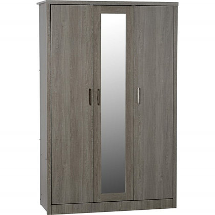 Shane - 3 Door Wardrobe (Black Wood Grain)