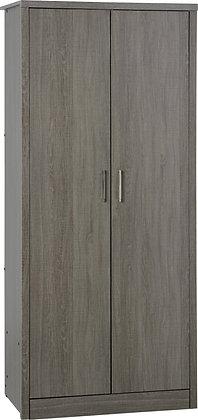Shane - 2 Door Wardrobe (Black Wood Grain)