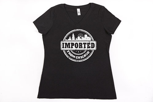 Blended T-Shirt - Imported from Chicago V Neck - Ladies
