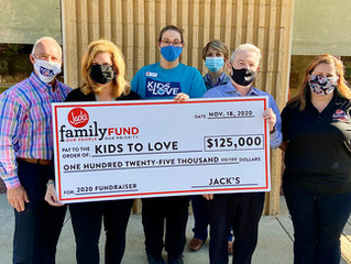 Jack's Donates $125,000 to Kids to Love Foundation to Help Foster Children Find Forever Homes