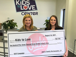 """Jack's Restaurants """"Show Some Love"""" with Substantial Donation to Kids to Love"""