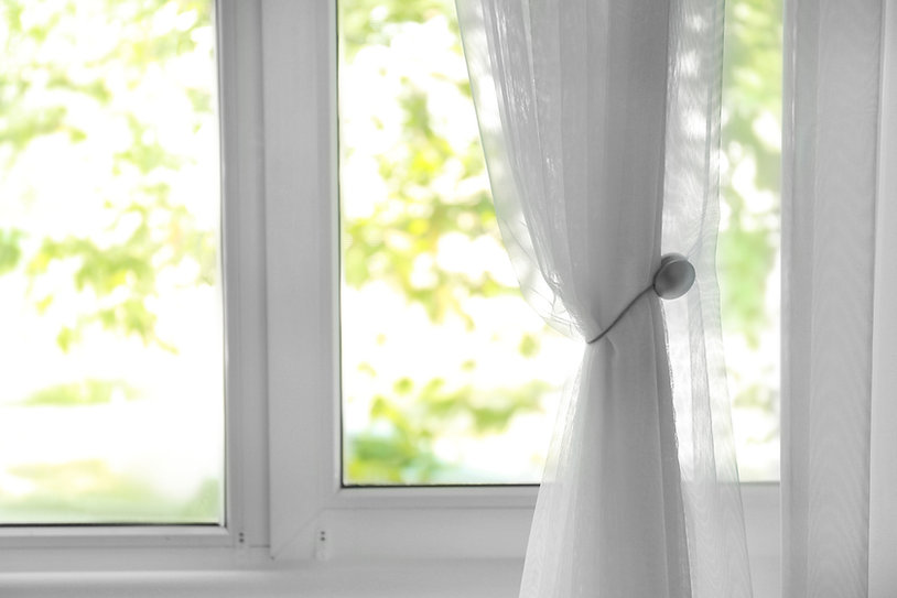 Window with beautiful white curtain, ind