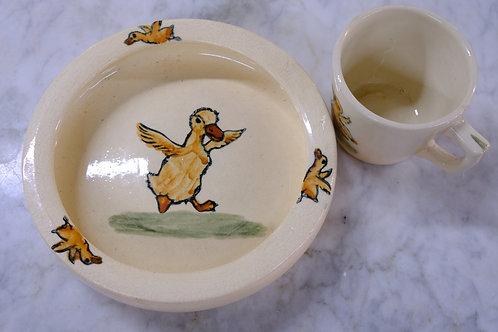 Vintage Youth Weller Ware Cup and Bowl