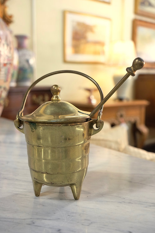 Covered Brass Pot With Lid
