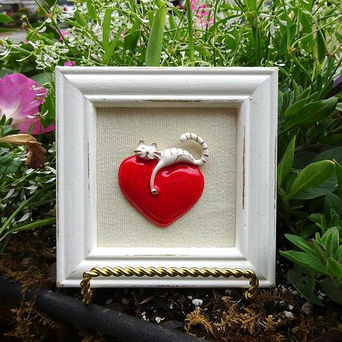 Heart & Cat Framed Art