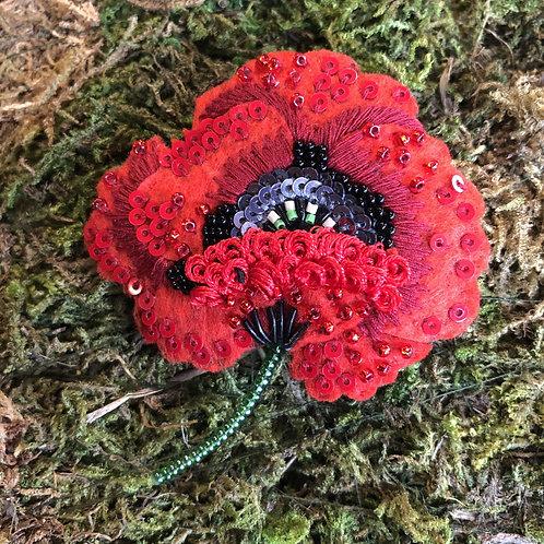 Trovelore Red Poppy Brooch
