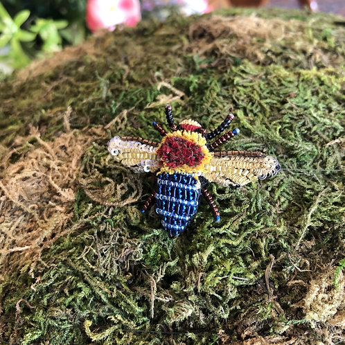 Trovelore Blue Banded Bee Brooch