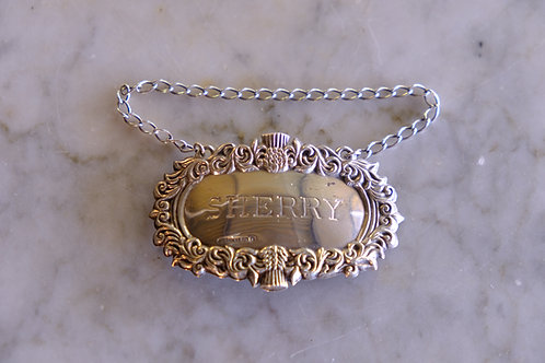 Silver Decanter Label, Sherry