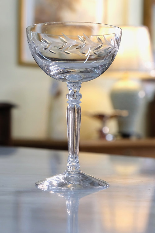 Set of Etched Champagne Glasses