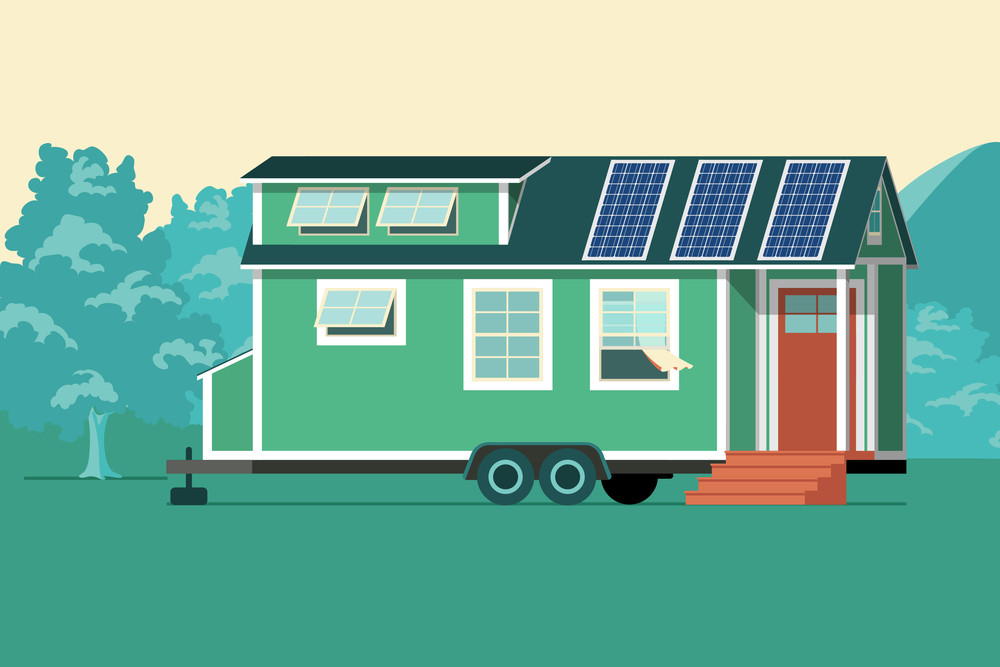 vector of a tiny house with solar panels