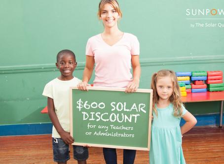 The Solar Quote is offering bonus solar discounts for educators.