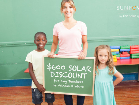 The Solar Quote is offering bonus solar discounts for educators.