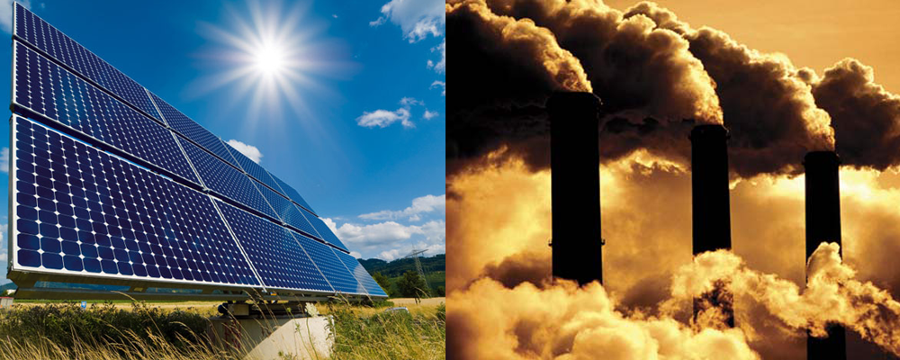 solar panels vs fossil fuels - smoke stacks