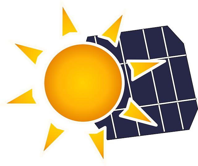 sun and solar panels