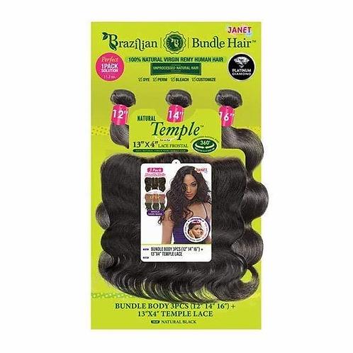 Janet Collection 100% Unprocessed Natural Virgin Hair Weave 3pcs+4x4 Closure