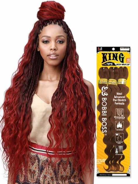 "Bobbi Boss King Tips Body Wave 28"" 3X Braids Synthetic"