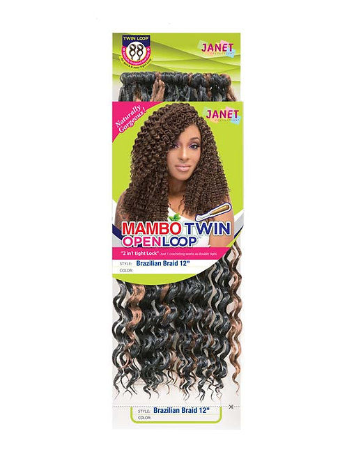 "Janet Collection Mambo Brazilian Twin Loop 12"""