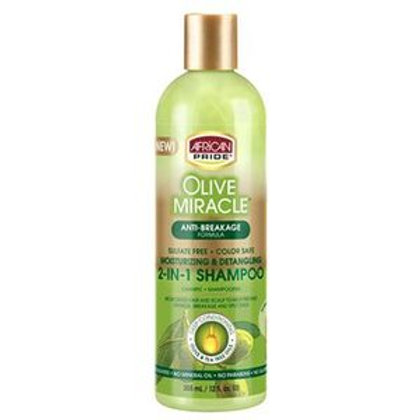 African Pride Olive Miracle 2-in-1 Shampoo & Conditioner 12 oz