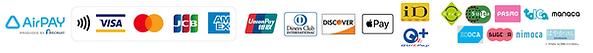 キャッシュレス決済協力企業。Air PAY、クレジットカード(VISA、master card、JCB、AMEX)、Apple Pay、iD、quicpayなど、