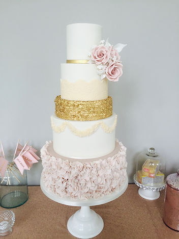 Blush pink ruffle weddng cake, Gold sequins, Cornwall wedding cake maker