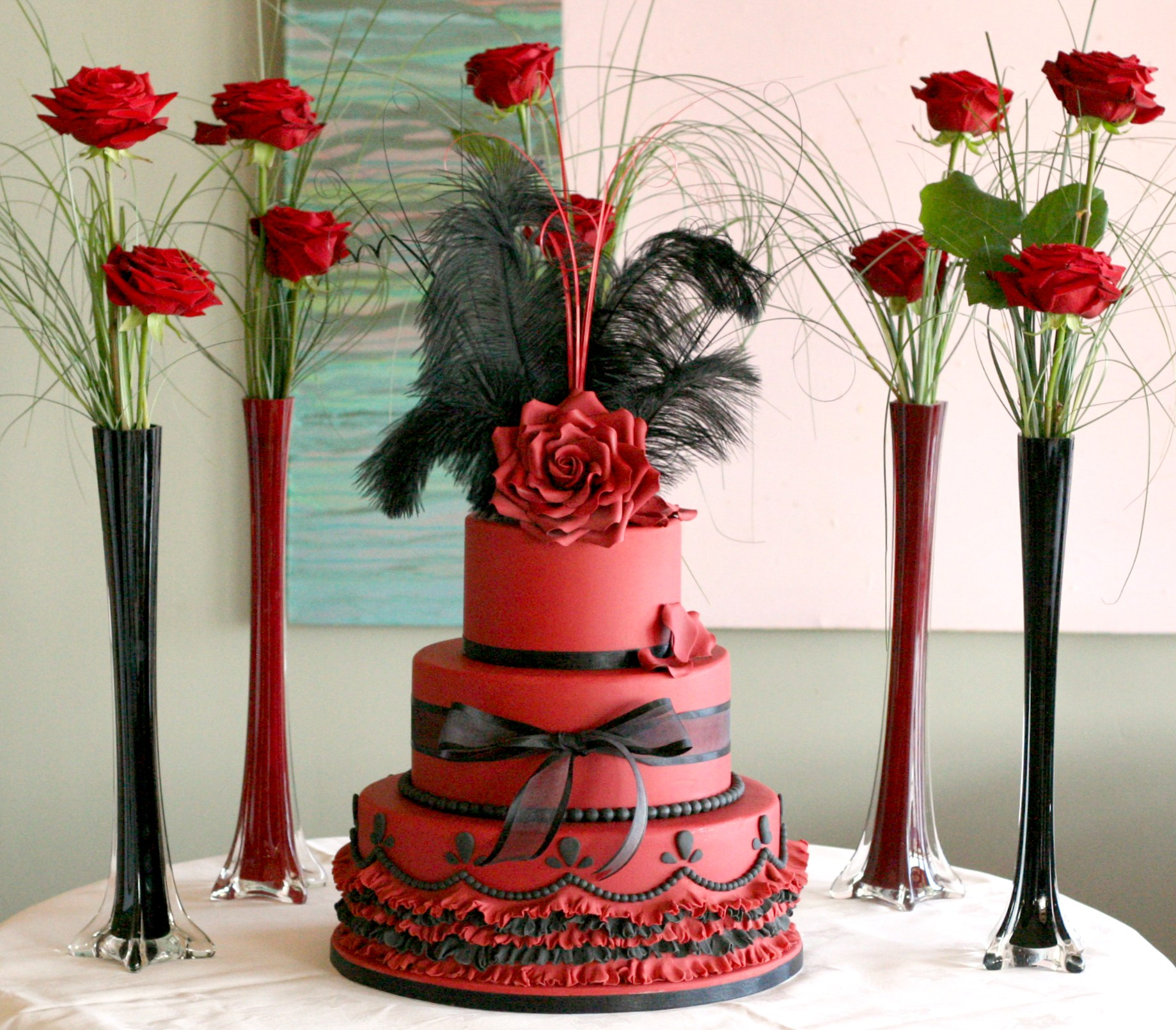 3 Tier Red & Black wedding cake