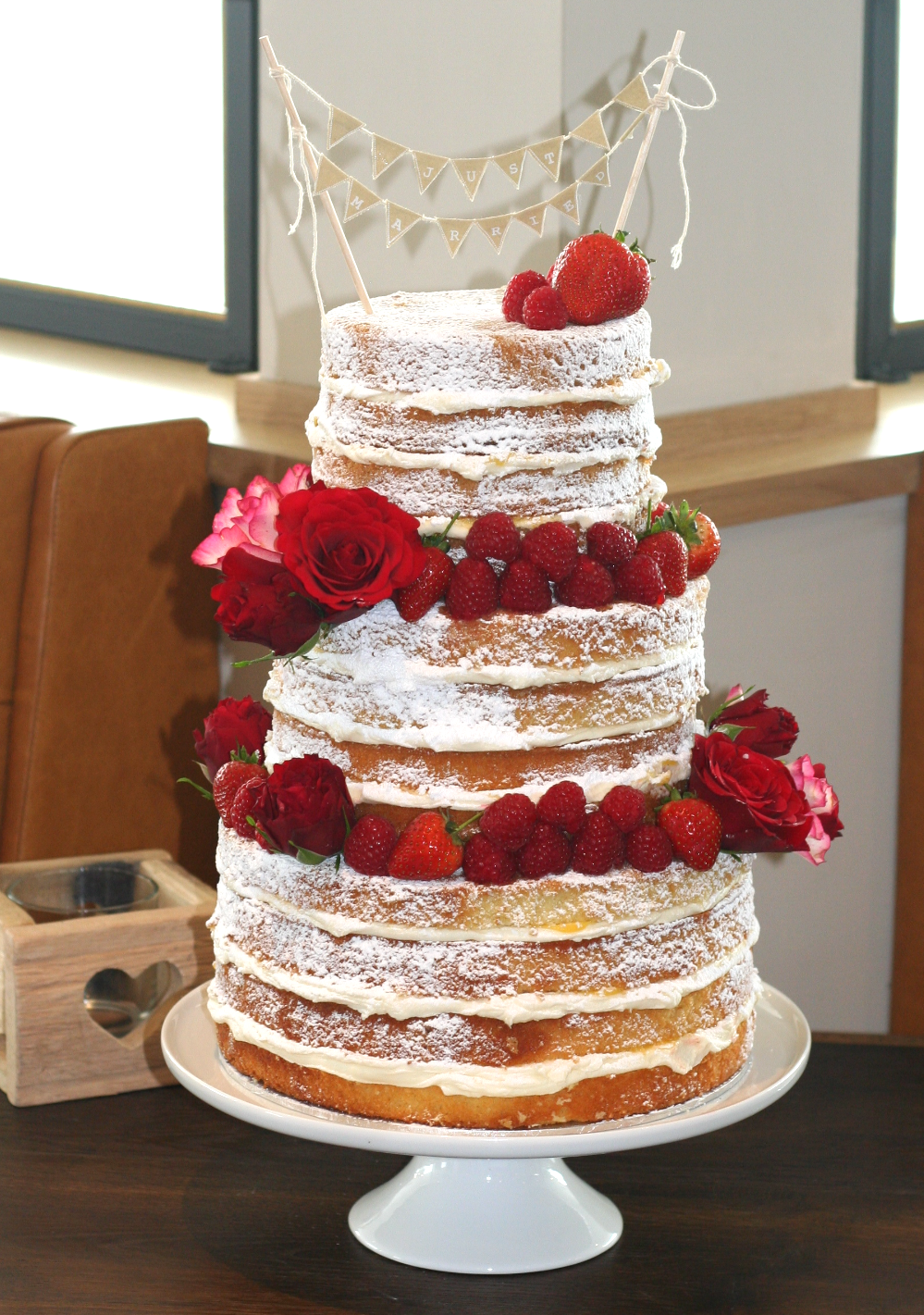Naked 3 tier wedding cake