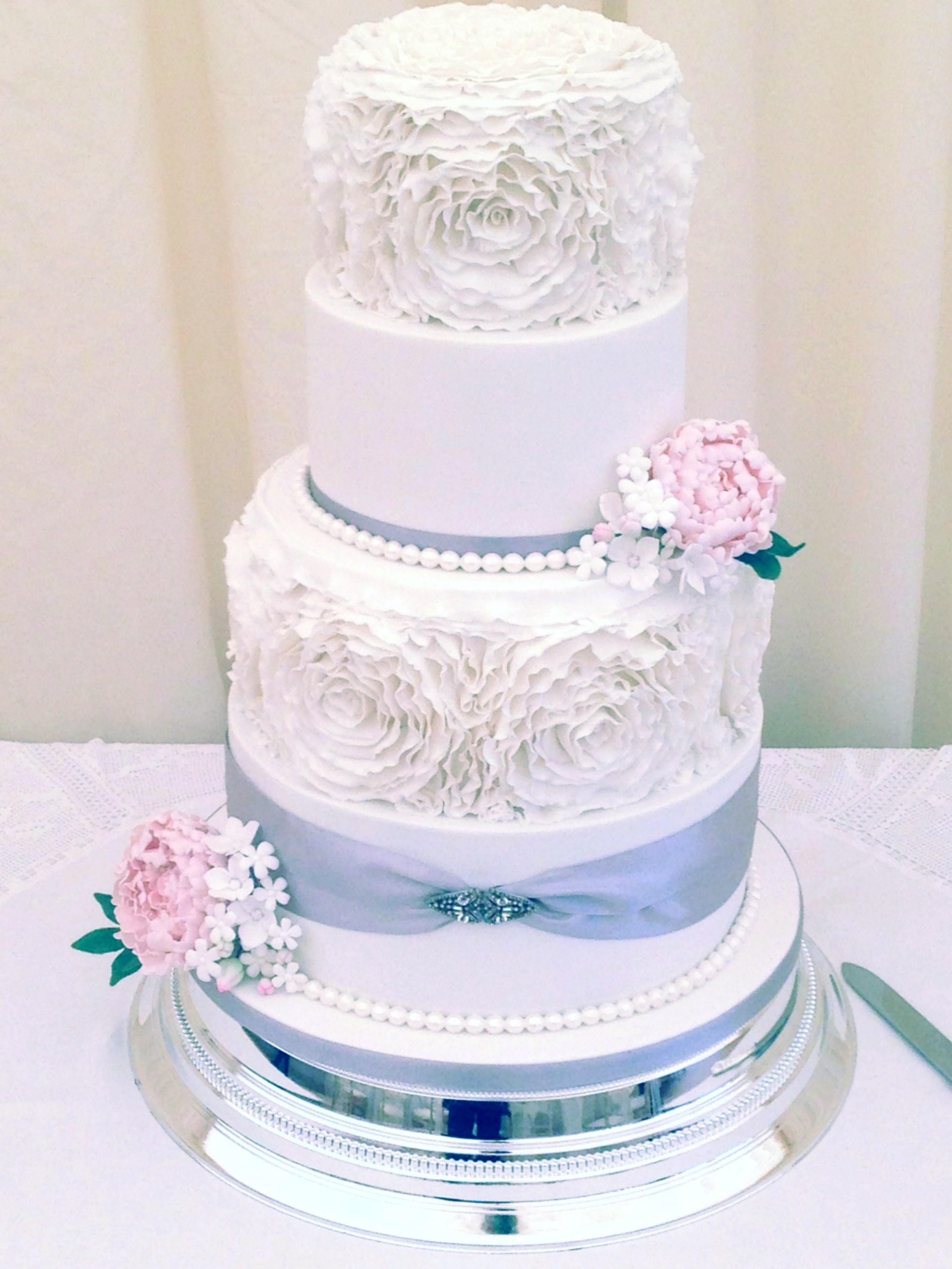 4 Tier Rose Ruffle Wedding Cake