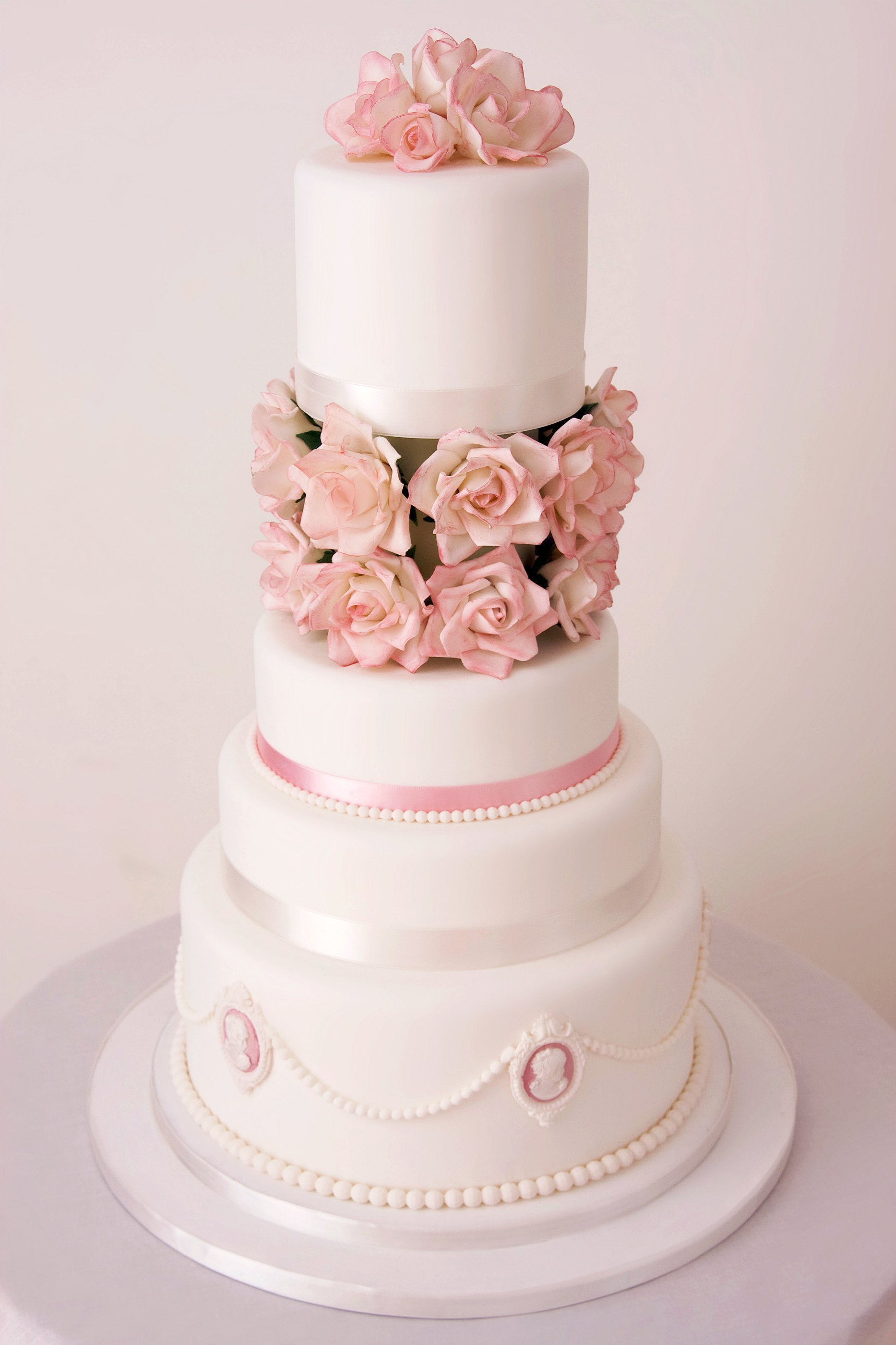 4 tier sugar rose wedding cake