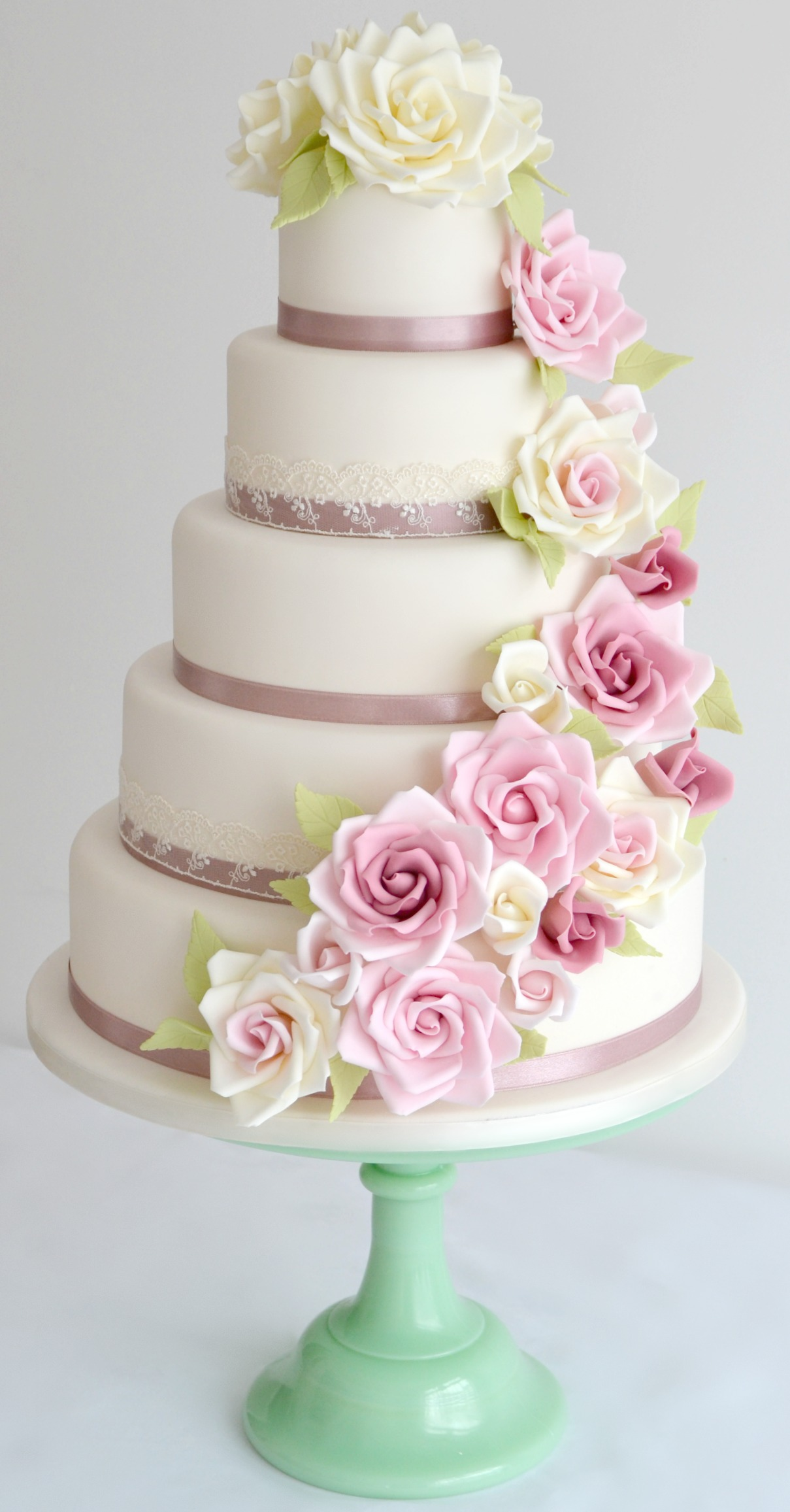 5 Tier Rose Cascade Wedding Cake