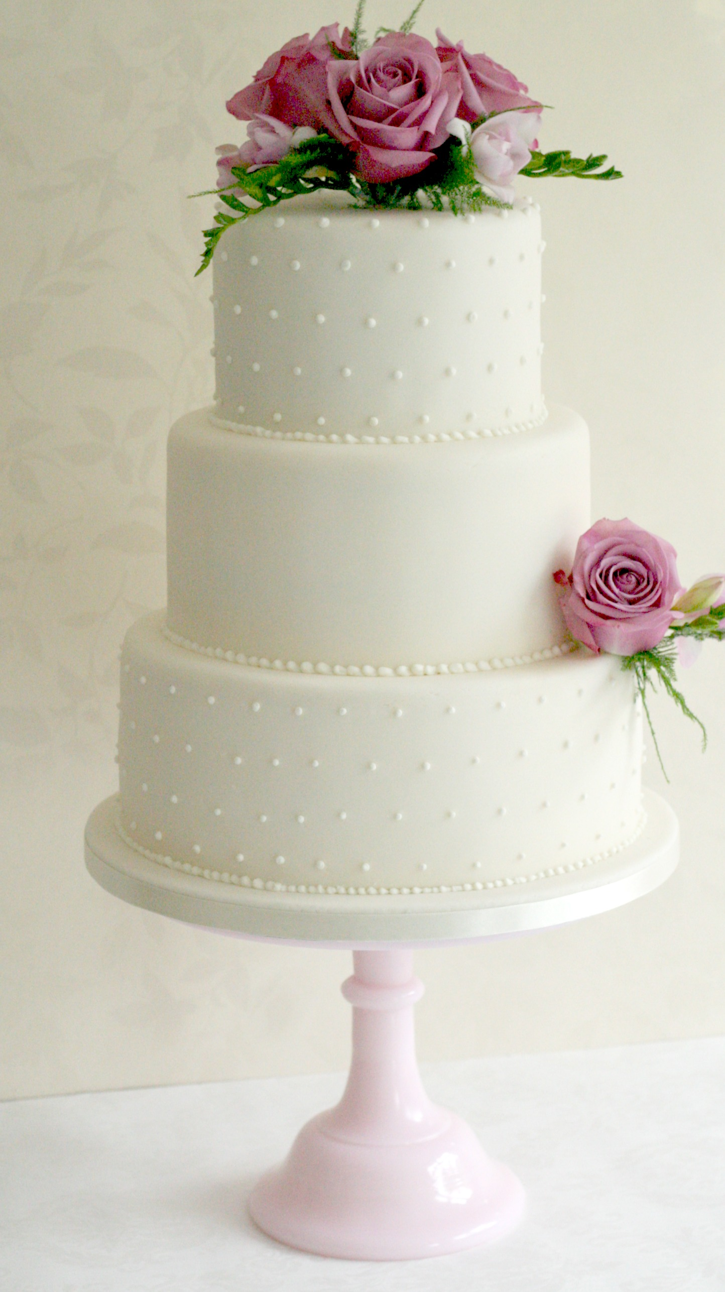 3 tier swiss dot wedding cake