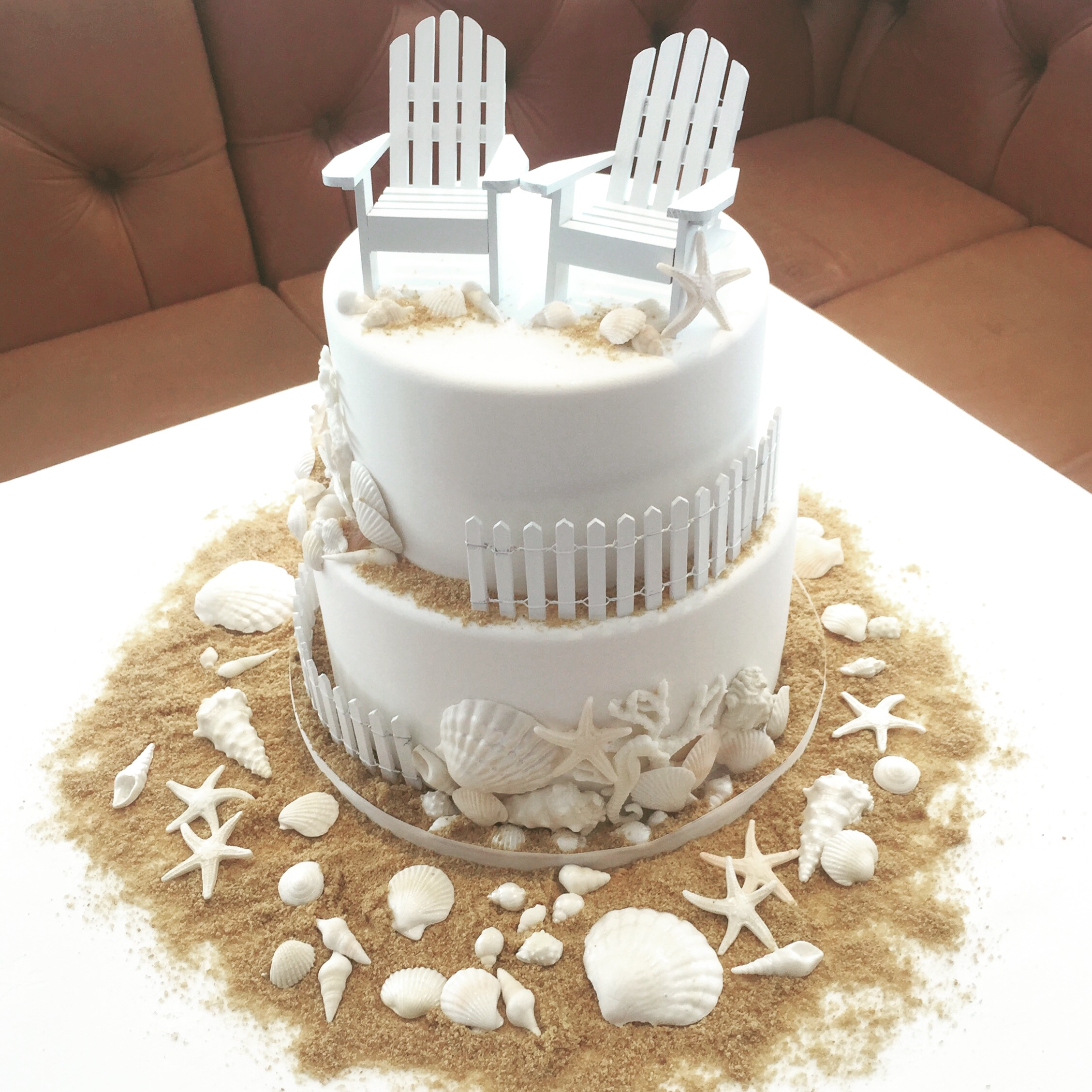 Cute two tier beach themed cake