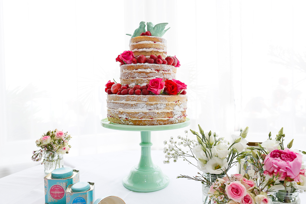 3 tier naked wedding cake