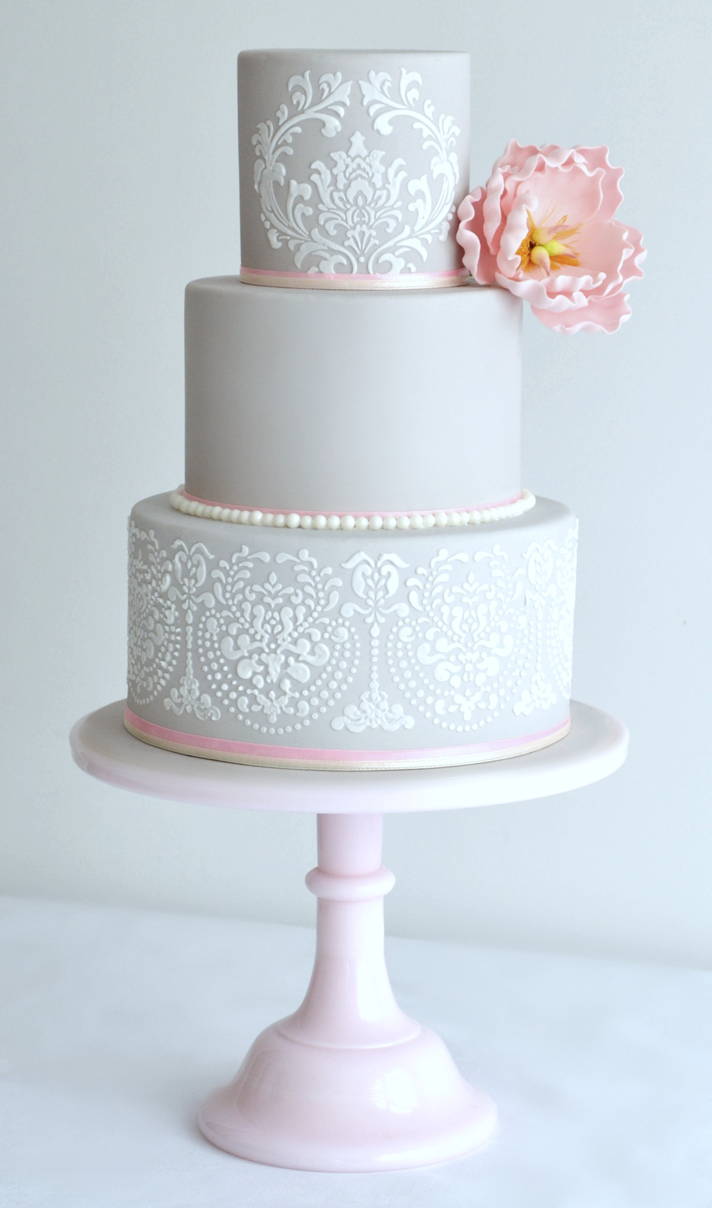 3 Tier dove grey wedding cake