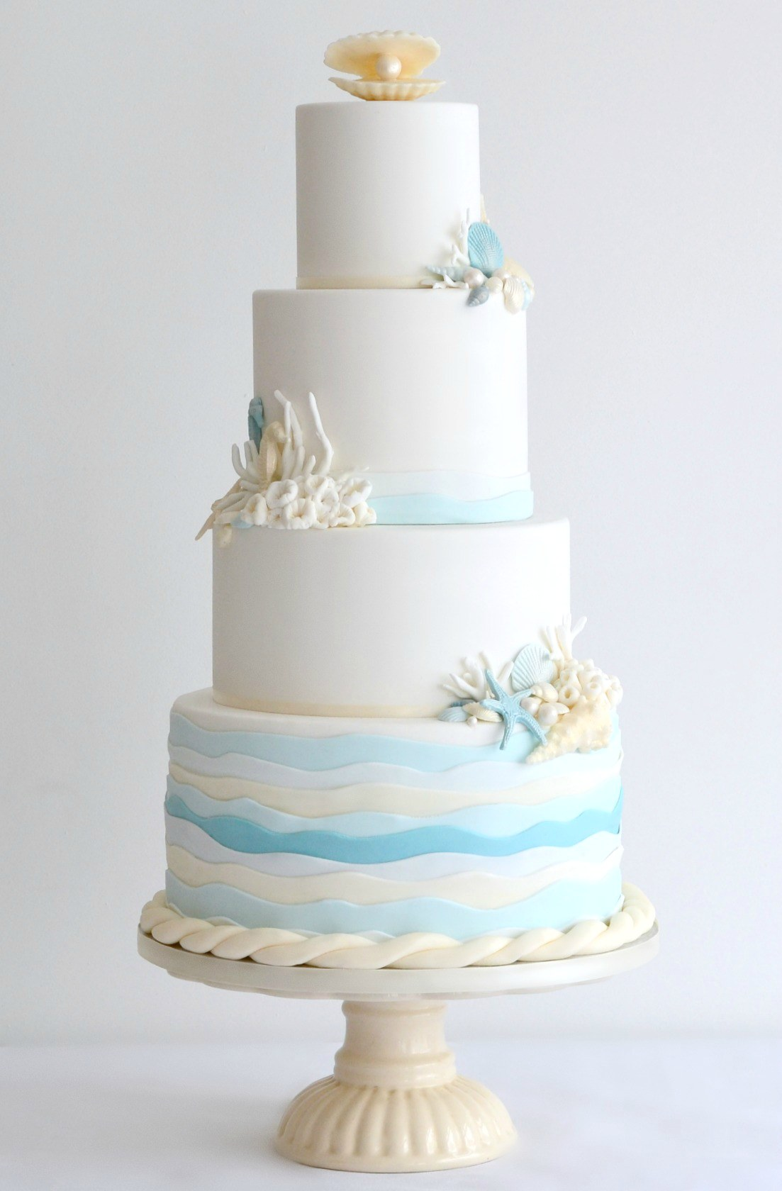 Coastal Themed 4 Tier Wedding Cake,