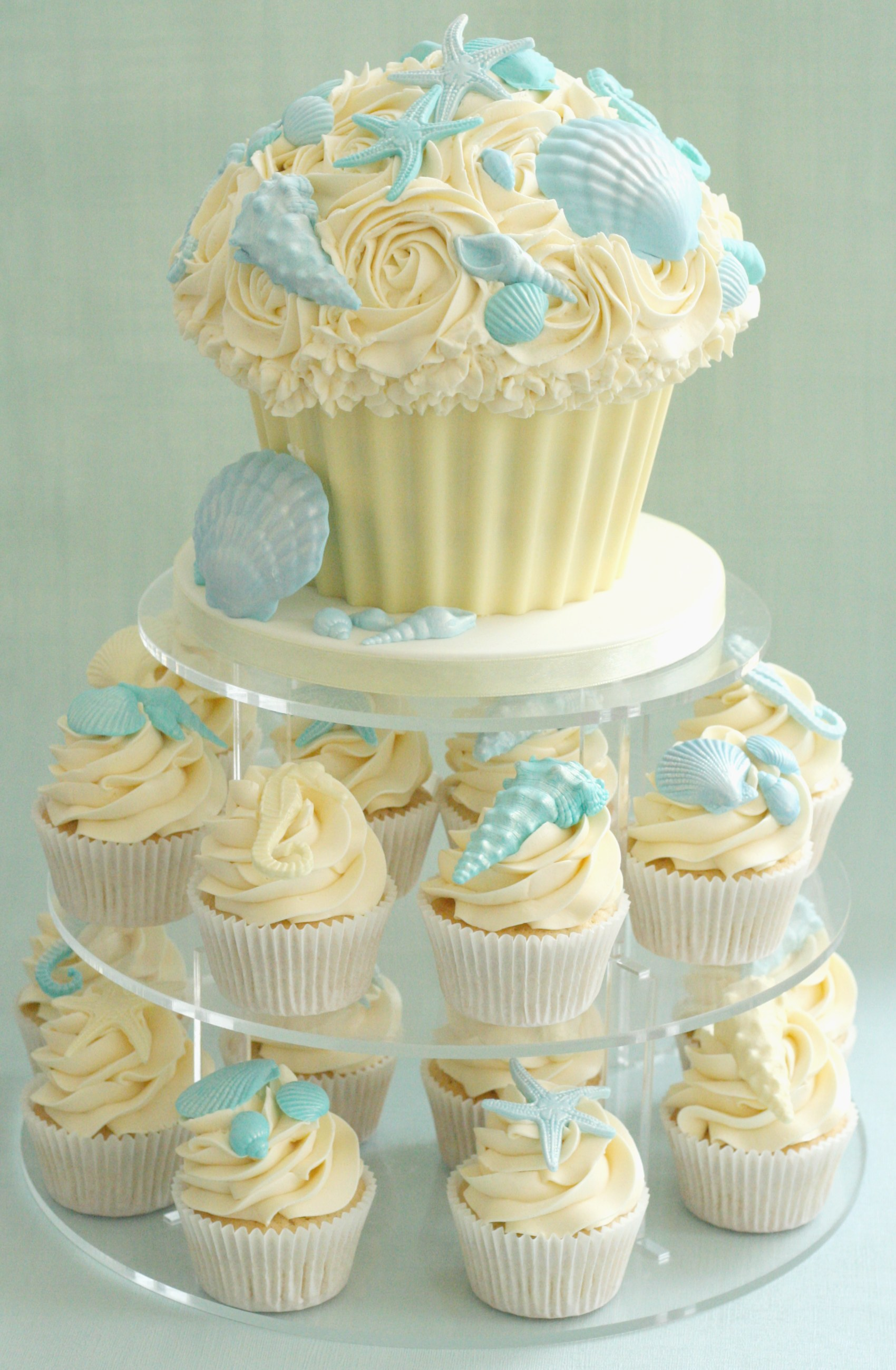 Giant Cupcake & shell cupcakes