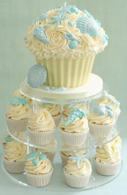 Giant Cupcake & shell cupcakes