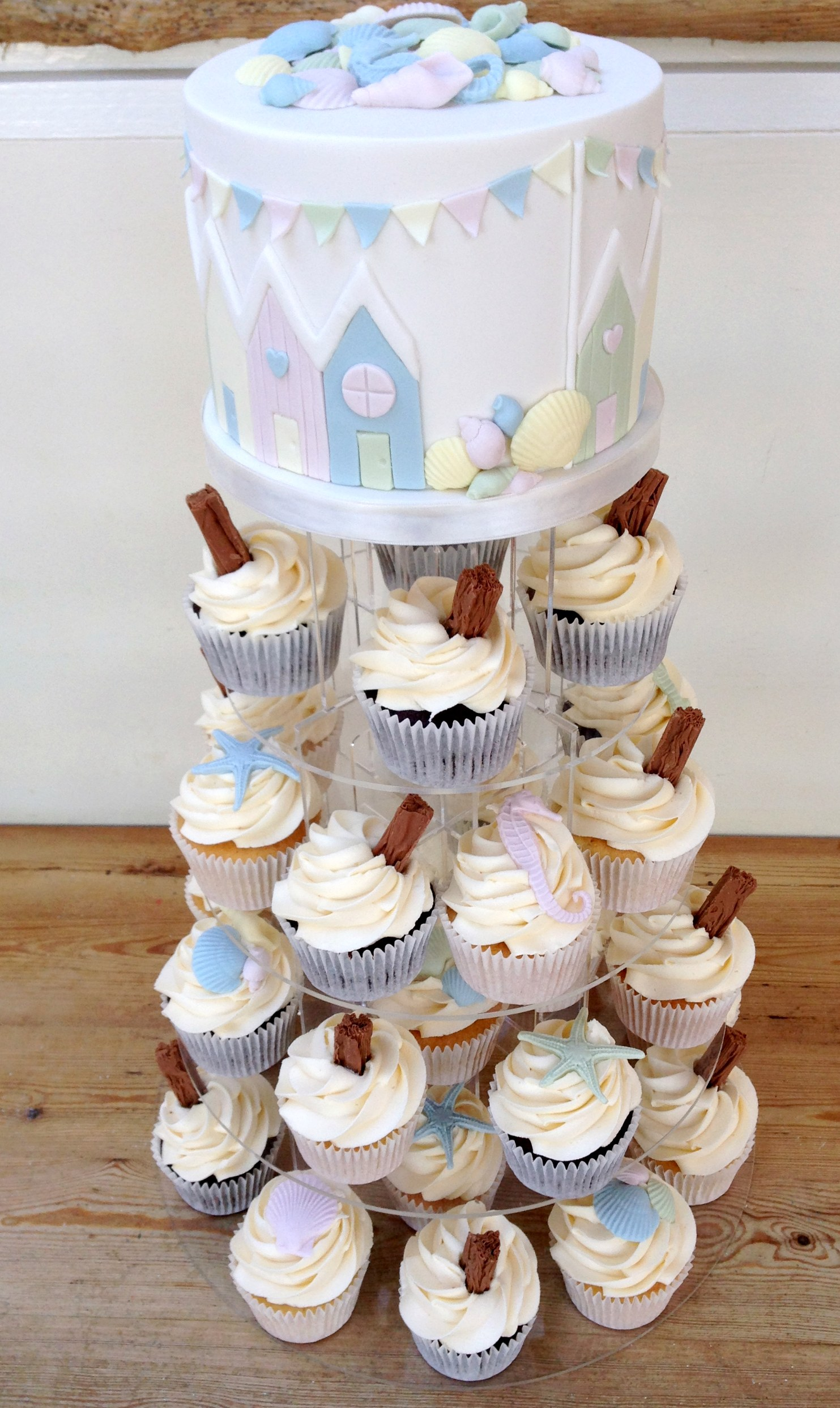 Beach hut cupcake tower