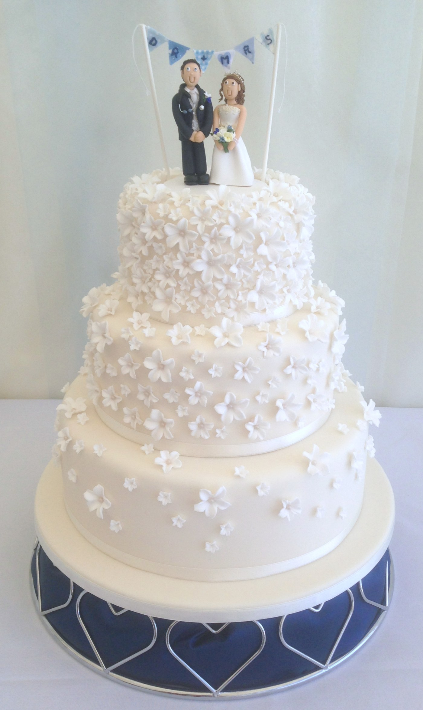 3 tier blossom cascade wedding cake